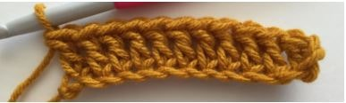 Row of Double Crochet Stitches