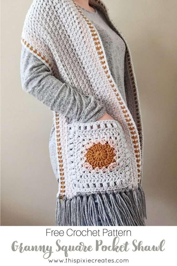 Crochet Pocket Shawl Pattern Pinterest
