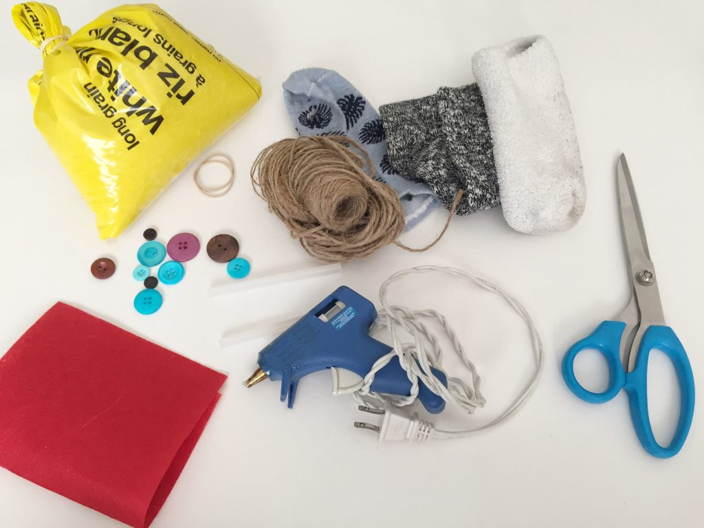 Craft Supplies for the Sock Snowmen
