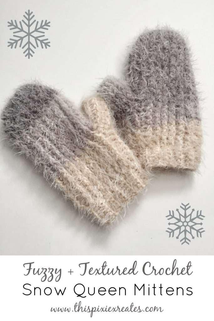 Fuzzy Textured Crochet Mittens