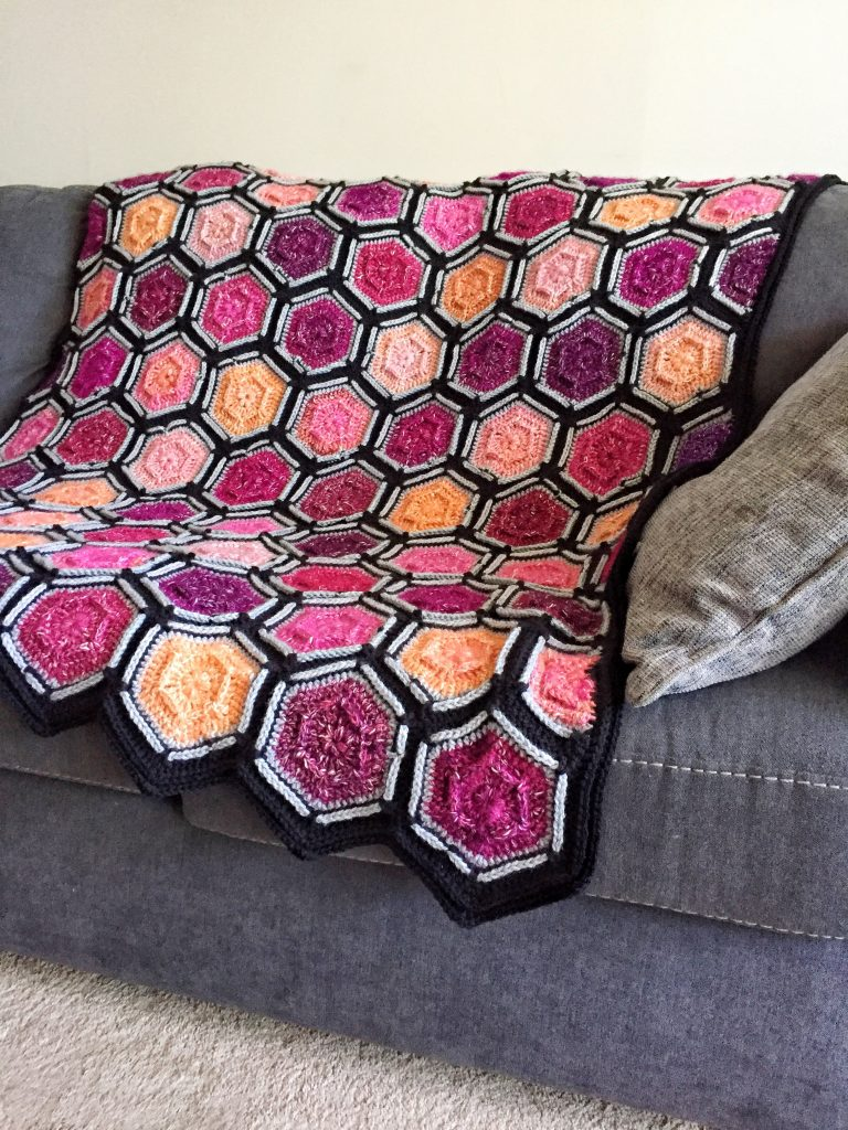 Colourful Crochet Hexagon Motif Blanket Free Pattern