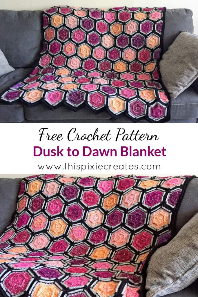 Crochet Hexagon Motif Blanket Free Pattern Pin