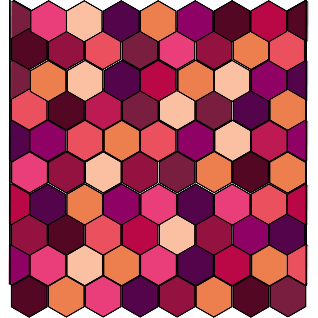 Colour Chart and Layout for the Crochet Hexagon Blanket
