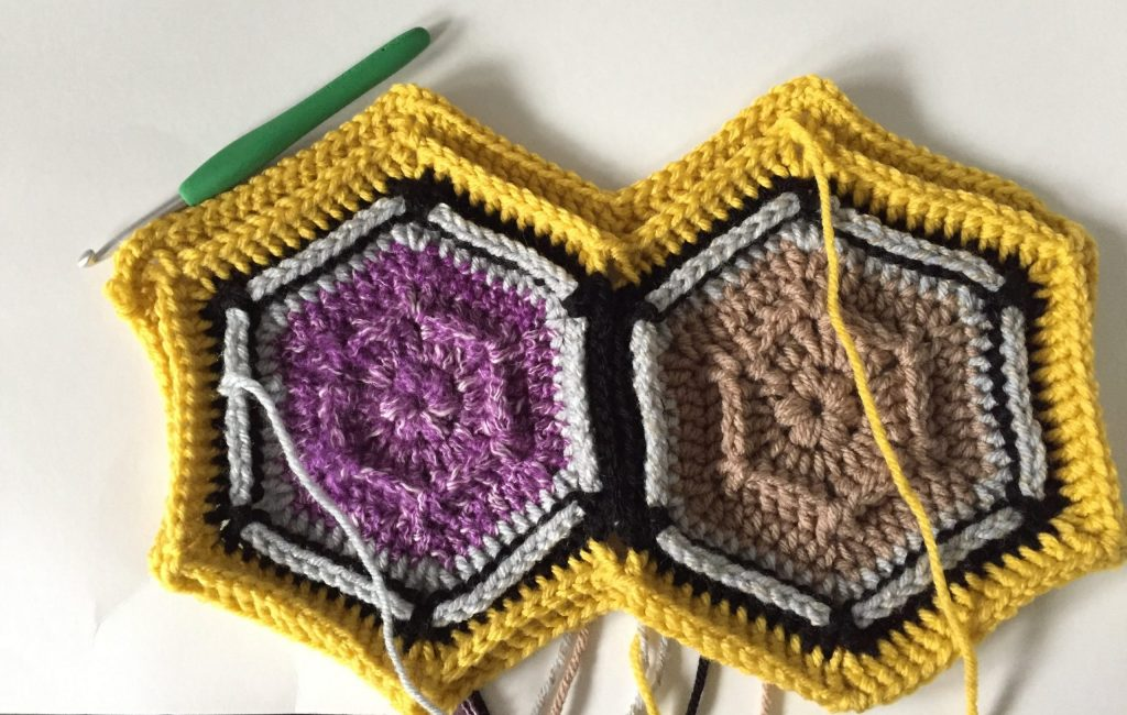 Round 3 of Crochet Hexagon Blanket Border