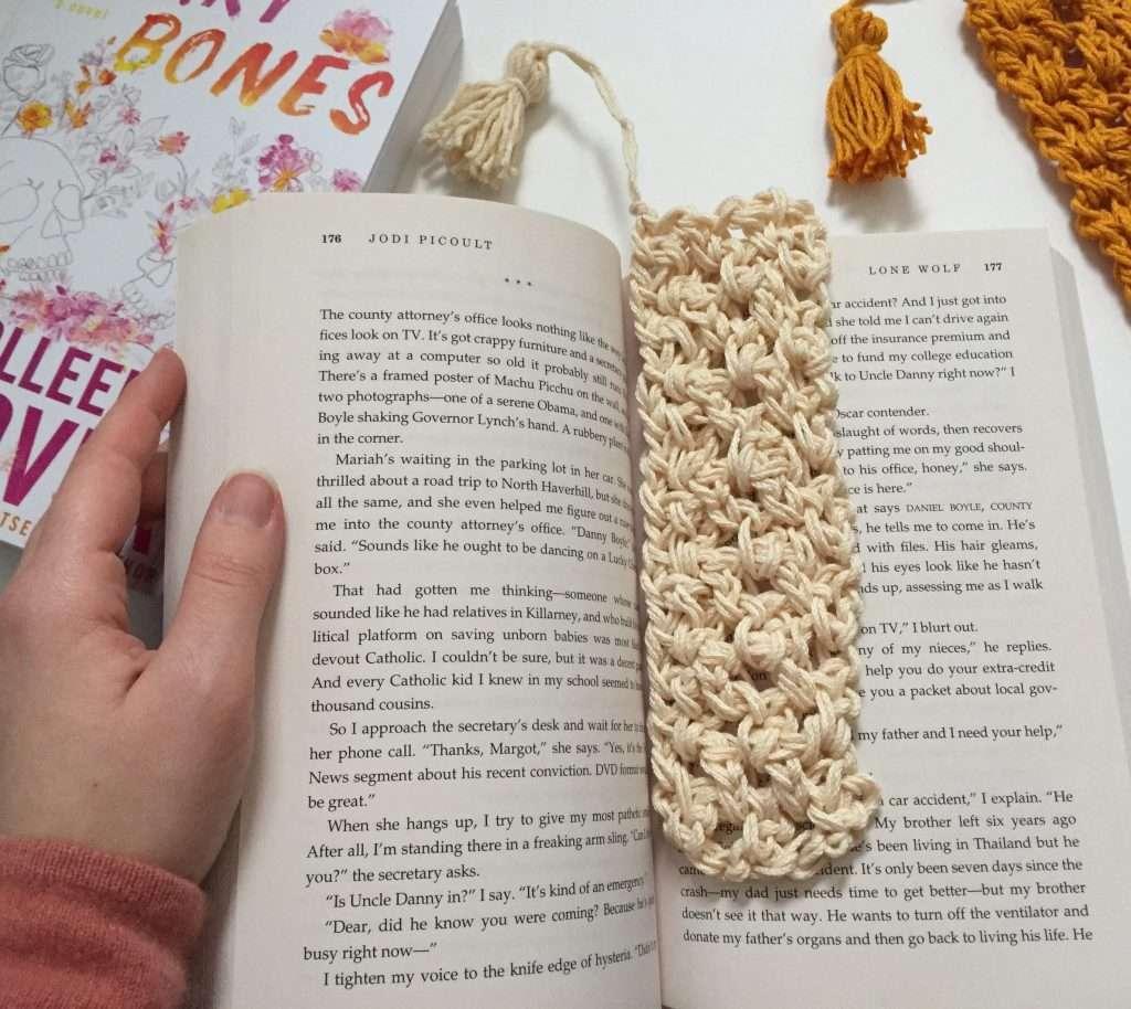 Crochet Bookmark in a book