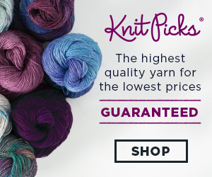 Knit Picks Purple and Blue yarn advertisement banner