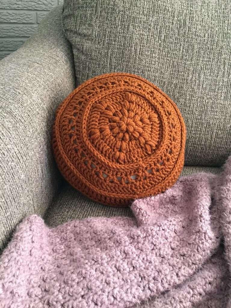 Flower Power Circular Pillow Free Crochet Pattern