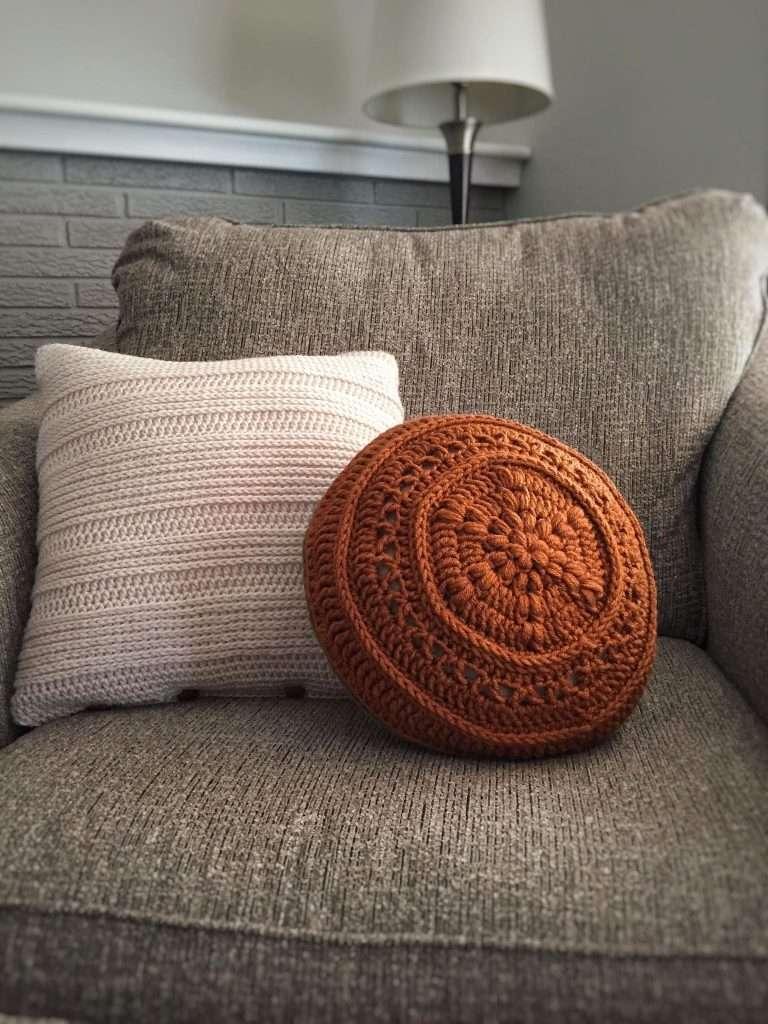 Vintage Inspired Crochet Circular Pillow
