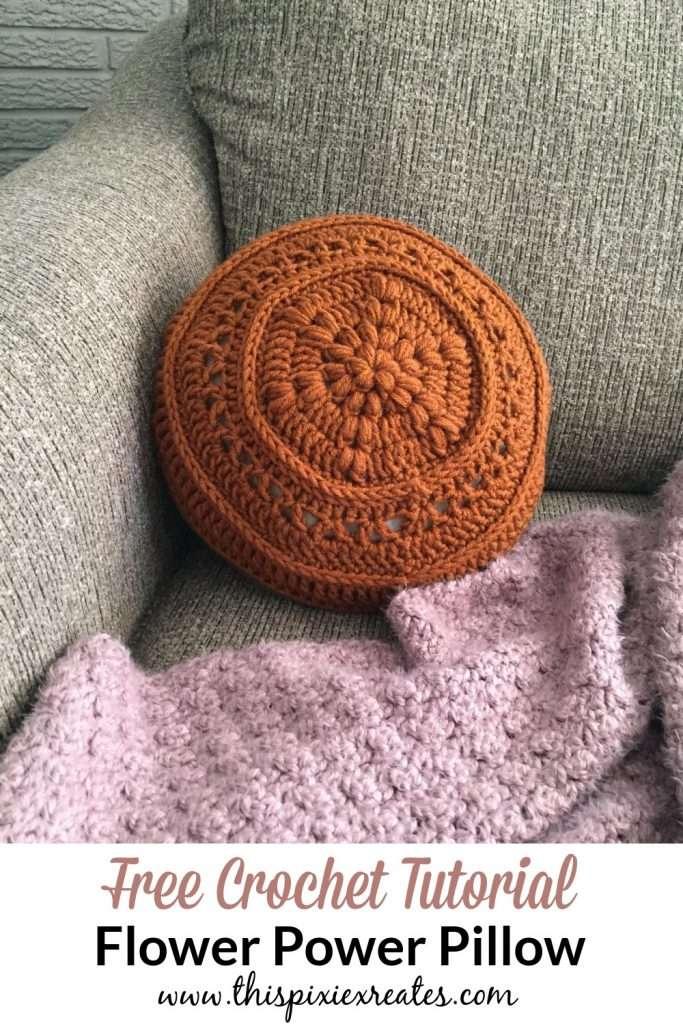 Flower Power Crochet Pillow Free Pattern Pin