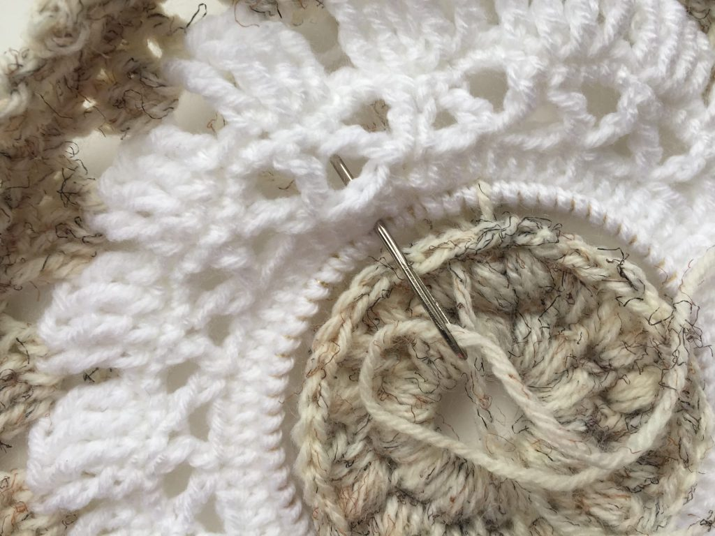 Sewing the Puff Stitch Center to the Main Circle