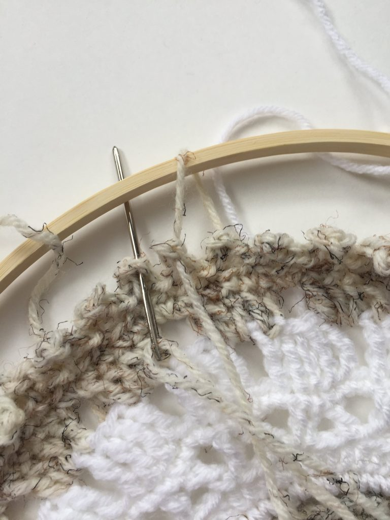 Attaching Mandala to Embroidery Hoop