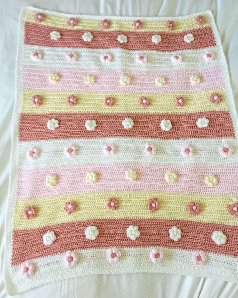 Cute Modern Crochet Baby Blanket for Girls