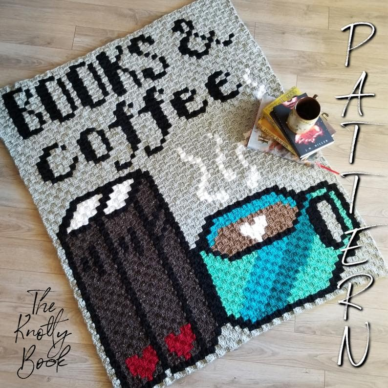 Books and Coffee C2C Blanket