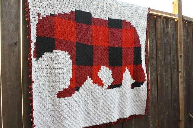 C2C Plaid Bear Blanket