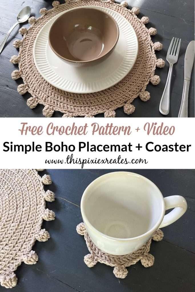 Boho Crochet Coaster and Placemat Pinterest Pin