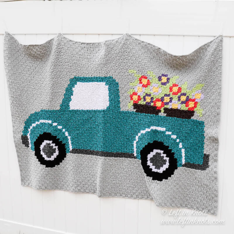Vintage Flower Truck C2C Blanket