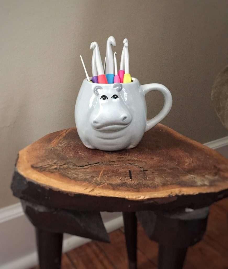 Hippo Mug Crochet Hook Holder