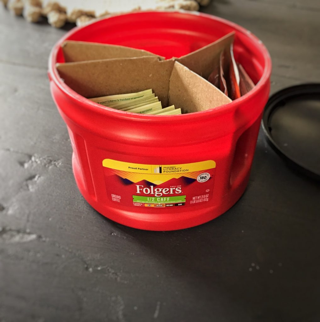 Repurposed Folgers Coffee Container