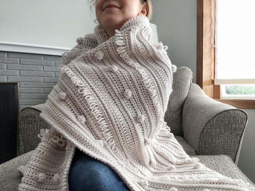 Crochet Neutral and Modern Boho Blanket with Bobbles and Loops