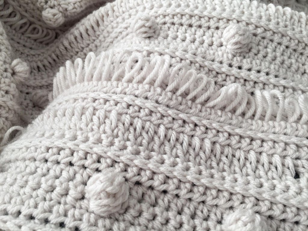 Cozy Textured Crochet Blanket with Bobbles, Loops, and Raised Stitches