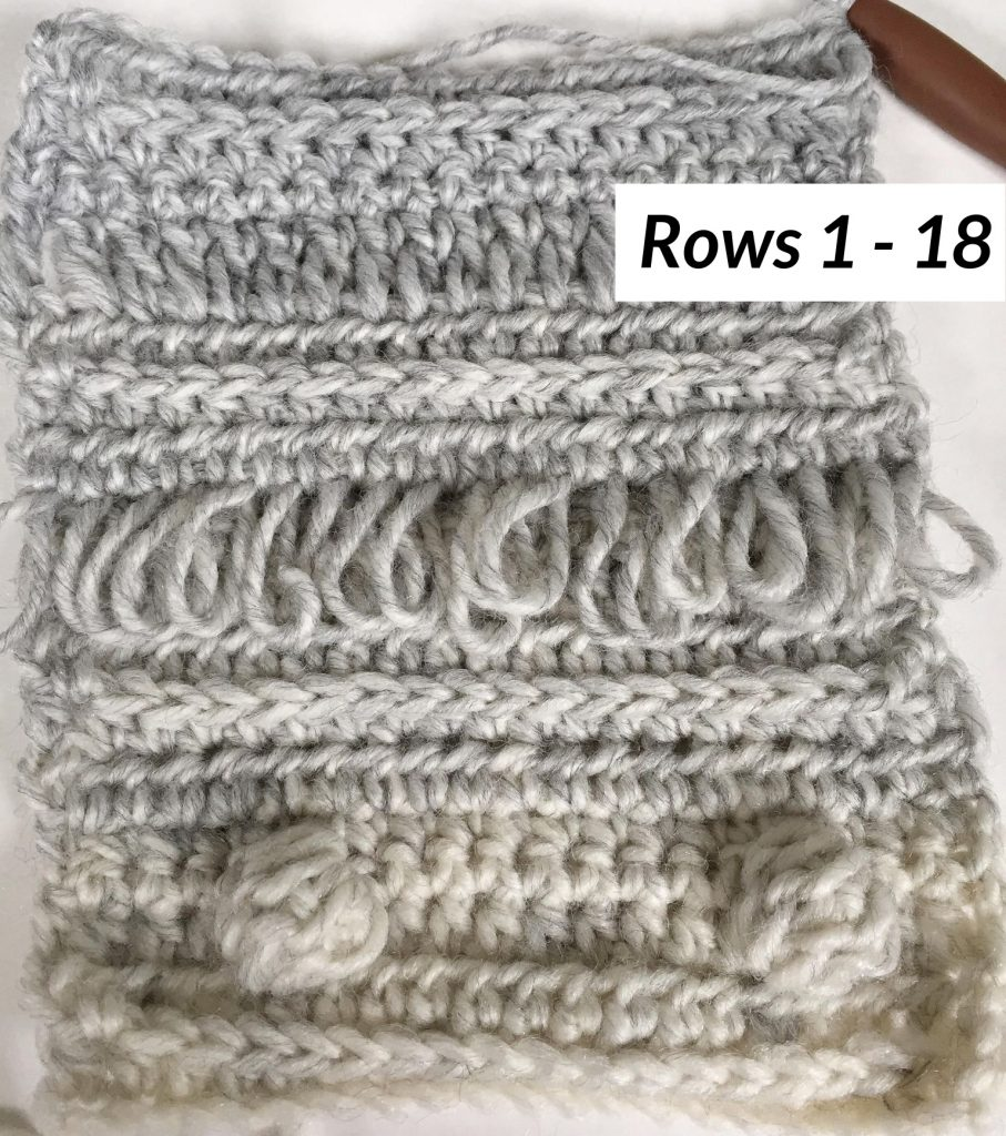 Rows 1 - 18 of the Loops and Bobbles Blanket
