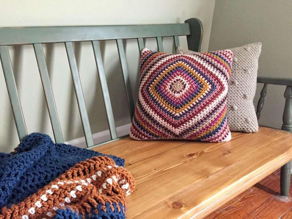 Boho Scrap Yarn Crochet Pillow Free Pattern