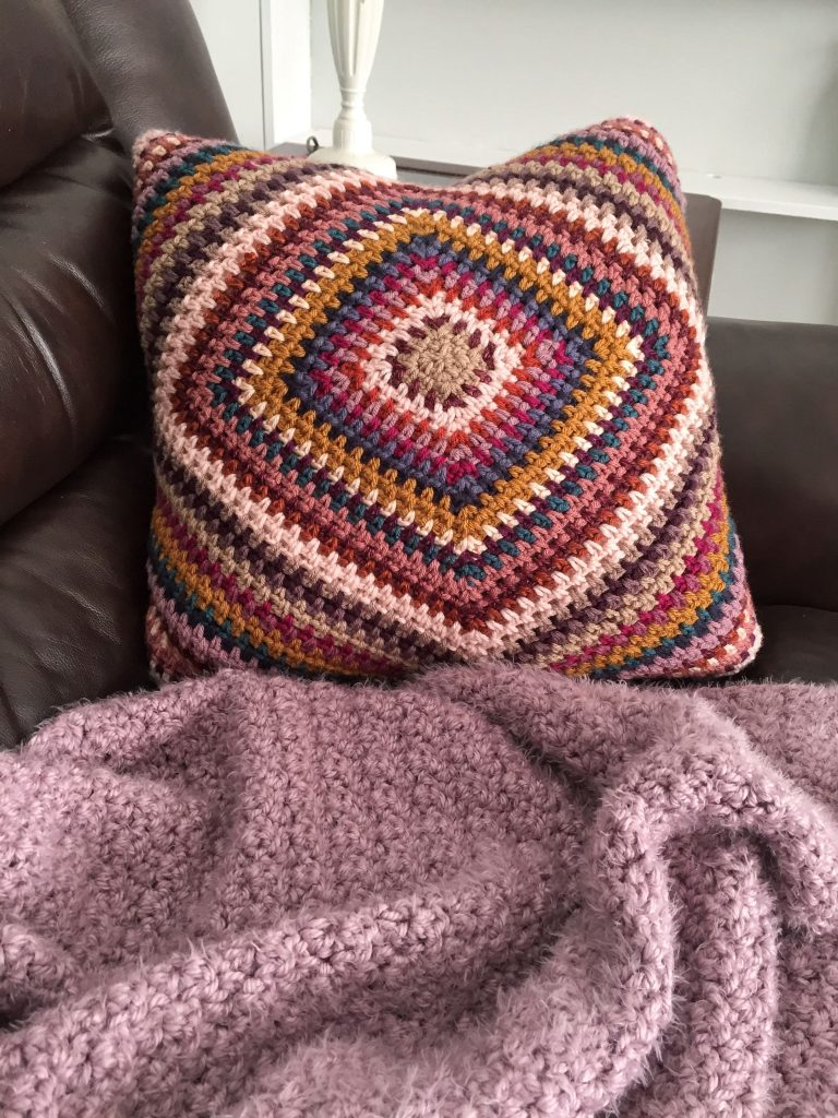 Mabel Pillow Crochet Scrap Yarn Pillow
